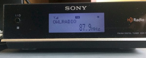 picture of Sony tuner and OwlRadio displayed on radio.